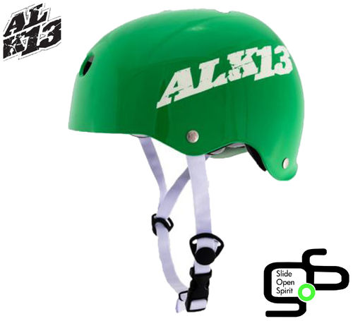 Casque ALK 13 Green, White Logo